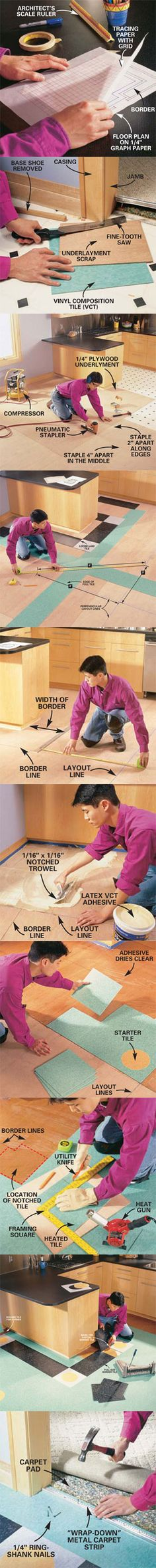 Learn how to lay vinyl tile like a pro at http://www.familyhandyman.com/DIY-Projects/Flooring/Vinyl-Flooring/how-to-lay-a-vinyl-tile-floor/View-All