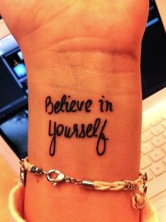 Wrist tattoo. Like the font.