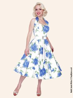 1950s halterneck victory rose royal dress. http://www.vivienofholloway.com/  #Vivienofholloway Vivienofhollowaywedding #VivienHolloway #VoH #Vintagereproduction #madeinlondon #1950sstyle #1950sfashion #1950s #1950sglamour #pinupgirl #pinup #rockabilly #rockabillygirl #rockabillyclothing #pinupfashion #1950sDress #1950sHalterneckDress #1950sCircleDress #1950swedding #vintagewedding #1950sfloraldresses