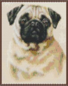 Pug  Beaded Tapestry Pattern by seesbeyond on Etsy, $6.00