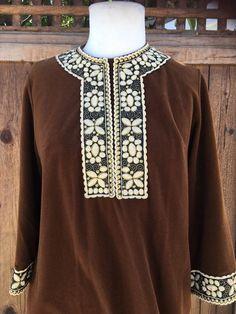 Vintage Vanity Fair Robe Brown Embroidered Sz 12 Velour Fleece Zip Lounge Wear  | eBay