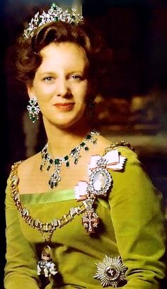 Queen Margrethe II wearing the Emerald Parure, Denmark (1840; made by C.M. Weisshaupt; Tiara, Earrings, Necklace; emeralds, diamonds, silver, gold).