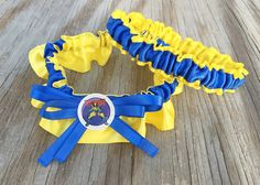 SEXY Wolverine Character Yellow & Royal Blue Bridal Satin Wedding Keepsake Or Garter SET by BellaDivaCouture on Etsy