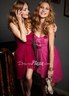 candy apple strapless sweetheart flower ruched empire a line short bridesmaid dress
