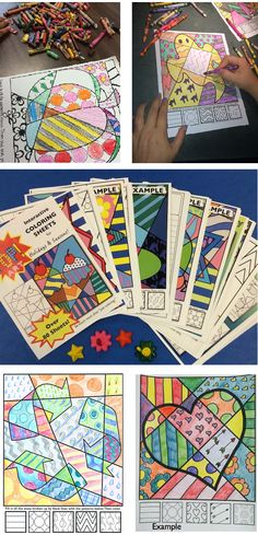 """These """"Pop Art"""" interactive coloring sheets are more than """"just coloring."""" Included are designs for all holidays and seasons!"""