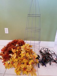 Tomato Cage Fall Topiary – Crafting Sistas Porch Topiary, Christmas Tree Topiary, Fall Topiaries, Pumpkin Topiary, Christmas Crafts, Christmas Ornaments, Tomato Cage Diy, Tomato Cage Crafts, Tomato Cages