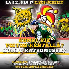Ilves vs. Jokerit Game Day poster for Facebook/Instagram / Crowd and player photo by Timokophotography