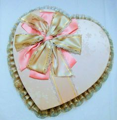 Valentines Day Heart-Shaped See's Candy Box, Vintage, Satin Bow