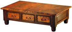 Mexican Copper Inlaid French 6-Drawer Coffee Table