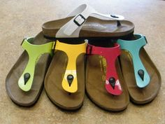 52f99dd9948a A few of the bright gizeh Birkenstocks we carry!