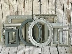 Picture Frame Set FREE FRAME with Purchase Shades of Gray and Silver Metallic Farmhouse Decor Wall Gallery Reclaimed Wall Art Frames Large Picture Frames, Picture Wall, Free Frames, Oval Frame, Framed Wall Art, Painted Furniture, Farmhouse Decor, Wall Decor, Metallic