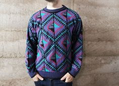 FAIR ISLE sweater men's vintage 80s 90s thick cable knit DIAMOND patterned cosby. $26,00, via Etsy.