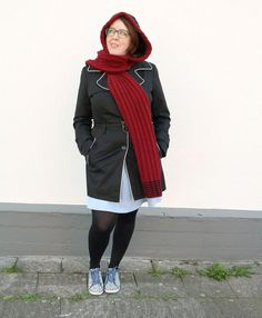 Red Black Scoodie, Hand Knitted Hooded Scarf with Cables by PolClary