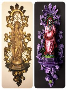 Great new virgin Mary on an ornate baroque wallhanger Holidays Halloween, Halloween Decorations, Halloween Party, Fall Crafts, Diy Crafts, Goth Home Decor, Creepy Dolls, Craft Night, Religious Art