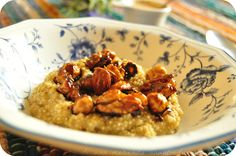 Quinoa porridge with candied almonds, hazelnuts and walnuts