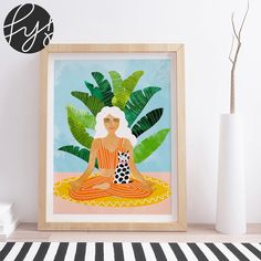"""Fine art print using water-based inks on sustainably sourced cotton mix archival paper. • Available in multiple sizes • Trimmed with a 2cm / 1"""" border for framing • Available framed in white, black and oak wooden frames. Tags: illustration, botanical, nature, kids Papaya Art, Fine Art Prints, Framed Prints, Cat Art Print, Orange Art, Spring Art, Plant Art, Leaf Art, Home Wall Art"""