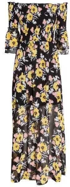 H&M Off-the-shoulder Maxi Dress black floral print under $100