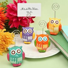 Hand Painted Ceramic Owl Design Place Card Photo Holders