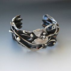 Oxidized copper and sterling silver cuff by Cyndie Smith Designs