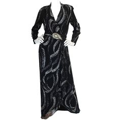 1960s George Halley Attributed Glitter Wrap Dress | From a collection of rare vintage evening dresses at https://www.1stdibs.com/fashion/clothing/evening-dresses/