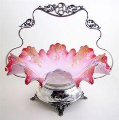 Antique Pink Victorian Brides Basket Bowl Monarch Basket Hand Painted Flowers #MonarchSilverCo