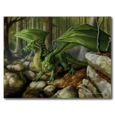 Fantasy art - Green Dragon - Dungeons & Dragons Postcard <3