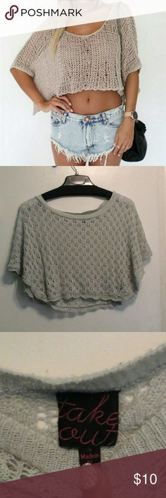 Gray Crop Top Gray Knitted Crop Top size S Tops Crop Tops