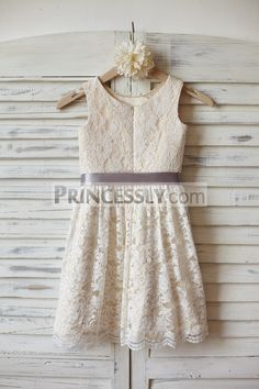 Ivory Lace Champagne lining Flower Girl Dress with silver sash Girls Lace Dress, Girls Pageant Dresses, Wedding Dresses For Girls, Junior Bridesmaid Dresses, Summer Dresses, Bridesmaids, Designer Flower Girl Dresses, Champagne Dress, Fancy Gowns