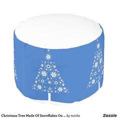 #ChristmasTree Made Of #Snowflakes On #BlueBackground #Pouf Hidden zipper Filled with polystyrene beads #snowflake #modern #holiday #tree #blueandwhite #merrychristmas #blue #merry #christmas #pattern #customproducts #ATSocialMediaUK
