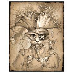 Items similar to Pirate Cat // 11 X 14 Print // Long John Silver Cat // Pirate art // Captain Hook Cat // Captain Claw // Digital cat art on Etsy Chat Steampunk, Arte Steampunk, Crazy Cat Lady, Crazy Cats, Steampunk Animals, Photo D Art, Cat Posters, Desenho Tattoo, Tatoo Art