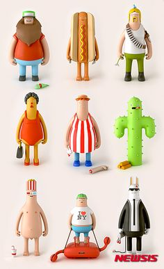 These beautiful designed vinyl toys are coined the yum yum Heroes and Villians. You can see the entire collection of design and illustrations here check out the cool video . Bühnen Design, Level Design, Toy Art, Vinyl Toys, Vinyl Art, Character Concept, Character Art, Funny Character, 3d Modellierung