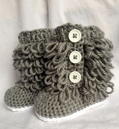 Baby Girl Ugg  Boots Crochet by cmiron on Etsy,