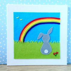 Rainbow and Rabbit Picture felt. Suitable for by BunbyAndBean bunbyandbean.etsy.com