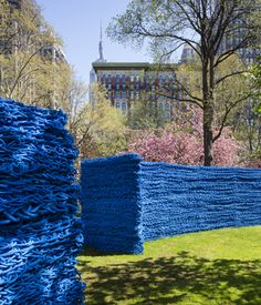 Covering three separate lawns in Madison Square Park Orly Genger's project is the largest to date. It's made of 1.4 million feet of hand-crocheted lobster-fishing rope.
