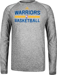 1eb22b1c9ddd Golden State Warriors Grey Climalite Practice Long Sleeve Shirt by Adidas   39.95 Long Sleeve Tee Shirts