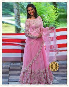 WhatsApp on 9496803123 to customise handcrafted bridal attire. Lehenga Saree Design, Pink Lehenga, Designer Wear, Designer Dresses, Long Dress Design, Pink Tulle, Indian Wear, Frocks, Blush Pink