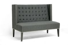 Owstynn Gray Linen Modern Banquette Bench | Affordable Modern Furniture in Chicago