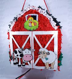 Resultado de imagen para piñata de animales de granja Farm Party, First Birthdays, Happy Birthday, Snoopy, Christmas Ornaments, Holiday Decor, Emilio, Ideas Para, Google