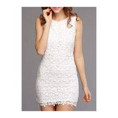 Rotita Back Zipper Closure White Lace Bodycon Dress (€20) ❤ liked on Polyvore