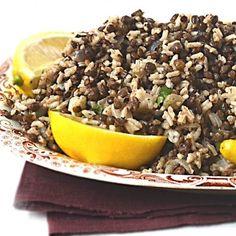Easier Rice & Lentils. Warm spices, plenty of black pepper & fresh lemon. Good hot or room temperature. Healthy & Tasty!