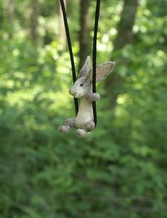 Tiny Rabbit Necklace / sculpture - needle felted by motleymutton