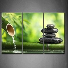 Bamboo Wall Art startonight canvas wall art zen stones and green bamboo, spa usa