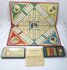 Antique 1915 PARKER BROTHERS POLLYANNA THE GLAD Board GAME COMPLETE PIECES Rules