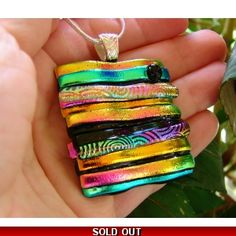 Dichroic Glass Pendant, Picasso Style
