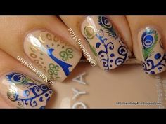 peacock nails (pueen stamps)