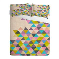 Bianca Green Completely Incomplete Sheet Set #triangle #pink #blue #green #color #home #decor #unique
