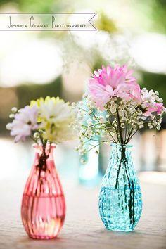 Aqua and Coral Wedding Inspiration - Simple Centerpieces