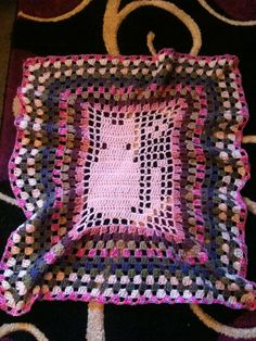 Crocheted cat ruffled granny square stripe blanket / by mrsmcnair, £13.00