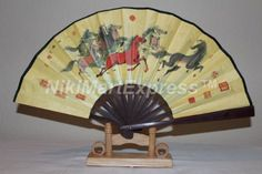 Beautiful Chinese Year of Horse Bamboo & Silk Hand Folding Fan, Wall Art, Decoration with Display Base Item# 6728 - Click image twice for more info - See a larger selection of folding fan at http://www.zbestsellers.com/level.php?node=146&title=asian-folding-fans - woman, accessories, folding fan, woman fashion. asian fan