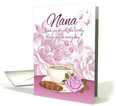 Nana - Mother's Day Card With Tea And Flowers card (771507)